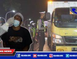 Petugas Gabungan Sekat & Rapid Test Pengendara Arah Sampang – Bangkalan